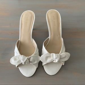 Nine West White Leather Bow Front Kitten Heels 8.5